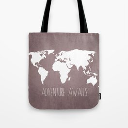 Adventure Awaits World Map Tote Bag