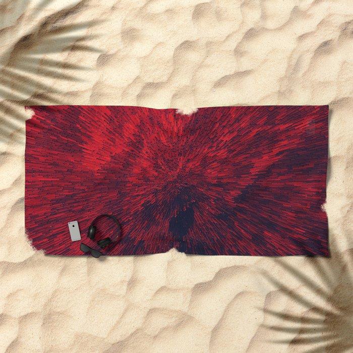 Bold Burst in Brilliant Red Beach Towel