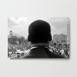 Civil Rights Selma to Montgomery, African American Rights March, March 65 black and white photograph Metal Print