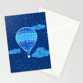 Hot Air Balloon Against a Deep Blue Night Sky Stationery Cards