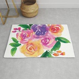 Rose bouquet in watercolor Rug