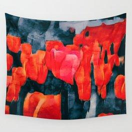 Tulip Field at Night Wall Tapestry