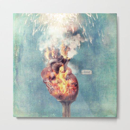 LOVE - Heart On Fire Metal Print