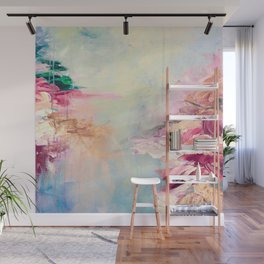 WINTER DREAMLAND 1 Colorful Pastel Aqua Marsala Burgundy Cream Nature Sea Abstract Acrylic Painting  Wall Mural