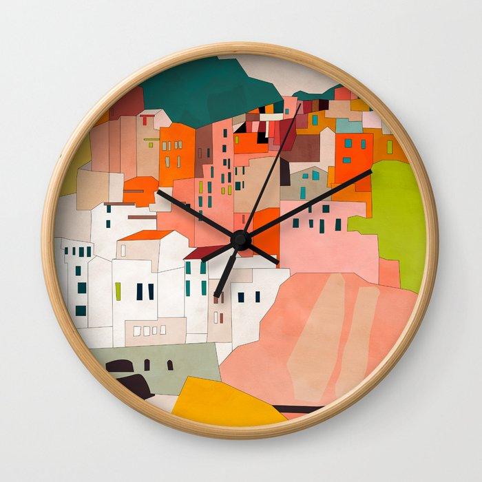 italy coast houses minimal abstract painting Wall Clock
