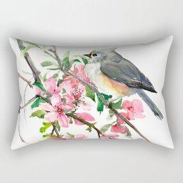 Titmouse and Cherry Blossom, birds and flowers design artwork Rectangular Pillow