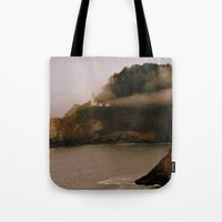 lighthouse Tote Bags featuring Lighthouse by Victoria's View