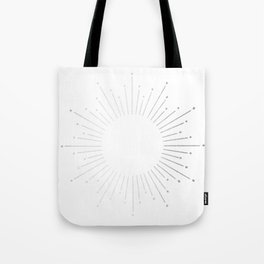 Sunburst Moonlight Silver on White Tote Bag