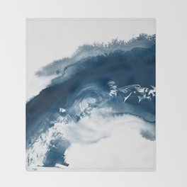 Building the Universe:  A minimal abstract acrylic painting in blue and white by Alyssa Hamilton Throw Blanket