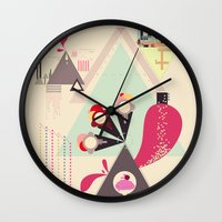 icecream Wall Clocks featuring Icecream Volcano by Tracey Jane Bradley