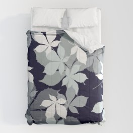 Contemporary Leaves Pattern In Chic Black, White, & Gray Comforters