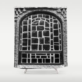 B&W Stained Glass Shower Curtain