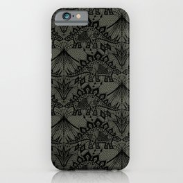 Stegosaurus Lace - Black / Grey iPhone Case