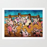pigs Art Prints featuring Pigs by Matt Jeffs