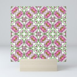 Floral Pink and Green Vine Abstract Girly Pattern Mini Art Print