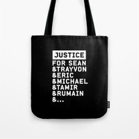 justice league Tote Bags featuring Justice by YEAH PRETTY MUCH