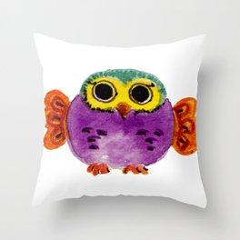 Chouette colorée Throw Pillow