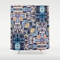 community Shower Curtains featuring Community of Cubicles by Phil Perkins