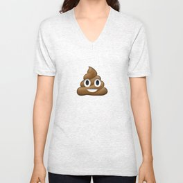 Smiling Poo Emoji (Colored Background) Unisex V-Neck