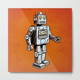 Retro Robot Toy Metal Print