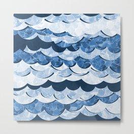 Abstract Blue Sea Waves Design Metal Print