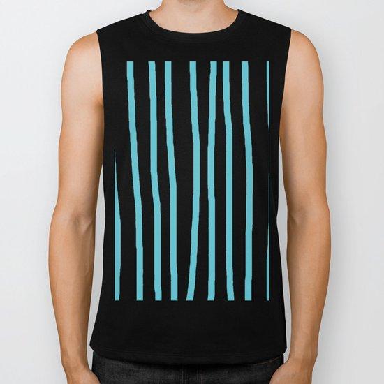 Simply Drawn Vertical Stripes in Seaside Blue Biker Tank