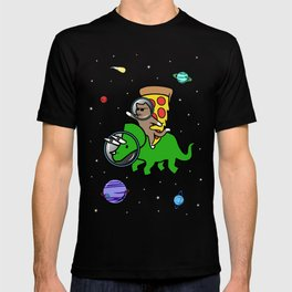 Cat And Pizza Riding Triceratops In Space T-shirt