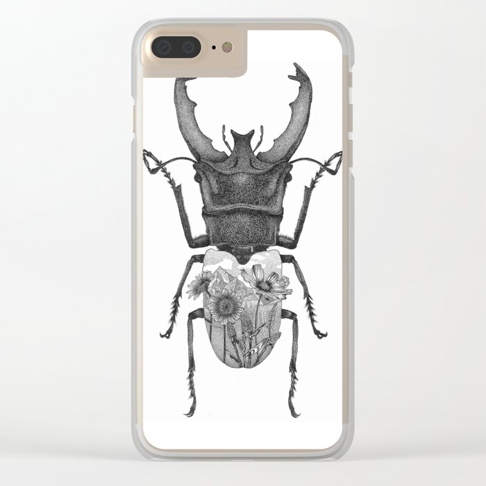 Stag Beetle with Mountain Scene Clear iPhone Case