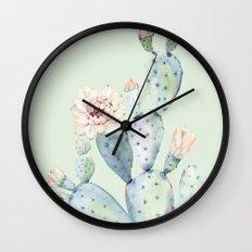 Prettiest Mint Cactus Rose Wall Clock