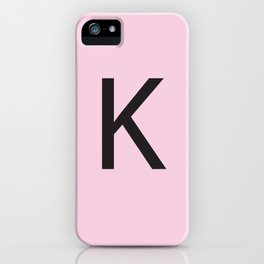 Letter K Initial Monogram - Black on Cherry Blossom iPhone Case