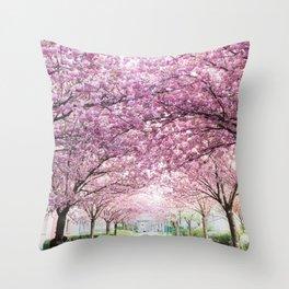Sakura tree street Throw Pillow