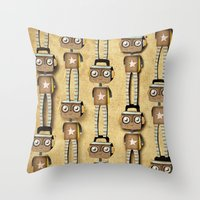robots Throw Pillows featuring Robots  by Ruth Fitta Schulz
