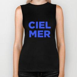 Ciel, Mer (Bleu) Biker Tank