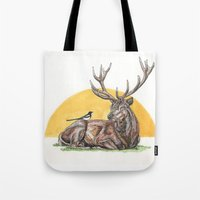 stag Tote Bags featuring Stag by Meredith Mackworth-Praed