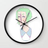 death cab for cutie Wall Clocks featuring Cutie by Thais Magnta Canha