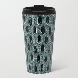 Watercolour Blackwork: 'Lozenge' Burnt Turquoise 1 (dark) Travel Mug
