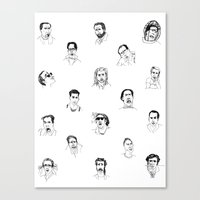 nicolas cage Canvas Prints featuring 100 Portraits of Nicolas Cage by Madelin Woods