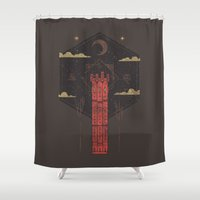 occult Shower Curtains featuring The Crimson Tower by Hector Mansilla