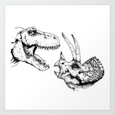 T-Rex Vs Triceratops Art Print
