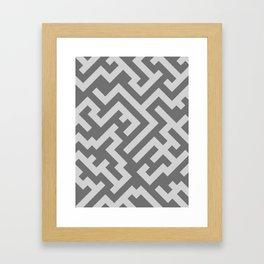 Light Gray and Dark Gray Diagonal Labyrinth Framed Art Print