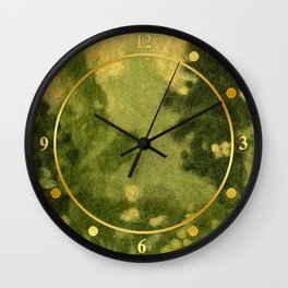 Summer Lawn, Fiber Felt Painting, Wool Texture, Yellow Green Wall Clock