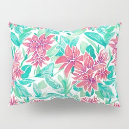 Ixora Hybrid Crimson Star Watercolor Pattern Pillow Sham