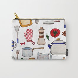 Watercolor Kitchen Utensils Carry-All Pouch