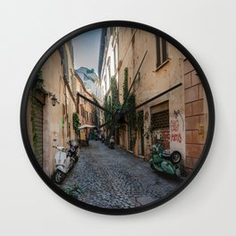 Rome, street with Vespa Wall Clock