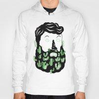 cactus Hoodies featuring Cactus Beard Dude by David Penela