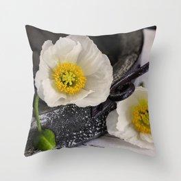 White Poppy still life photography Throw Pillow