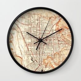 Vintage Map of Glendale California (1928) Wall Clock