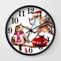 santa Wall Clocks featuring Santa by Anna Shell