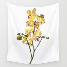 Yellow Phalaenopsis Orchid Traditional Artwork Wall Tapestry