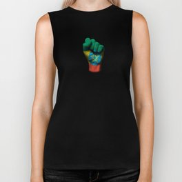 Ethiopian Flag on a Raised Clenched Fist Biker Tank